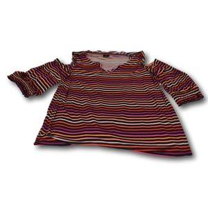Worthington Striped Cold Shoulder Ruffle Shirt Top